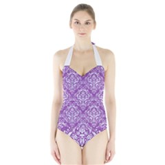 Damask1 White Marble & Purple Denim Halter Swimsuit