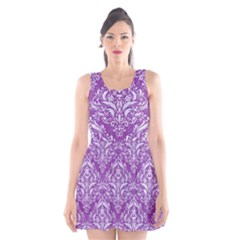 Damask1 White Marble & Purple Denim Scoop Neck Skater Dress