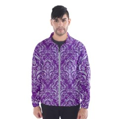 Damask1 White Marble & Purple Denim Wind Breaker (men)