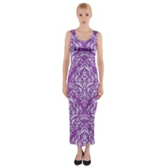 Damask1 White Marble & Purple Denim Fitted Maxi Dress