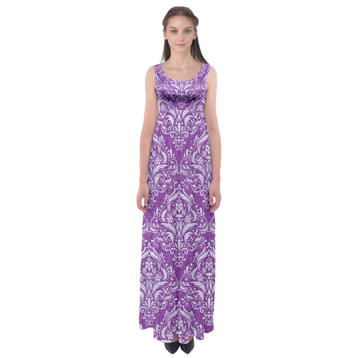 DAMASK1 WHITE MARBLE & PURPLE DENIM Empire Waist Maxi Dress