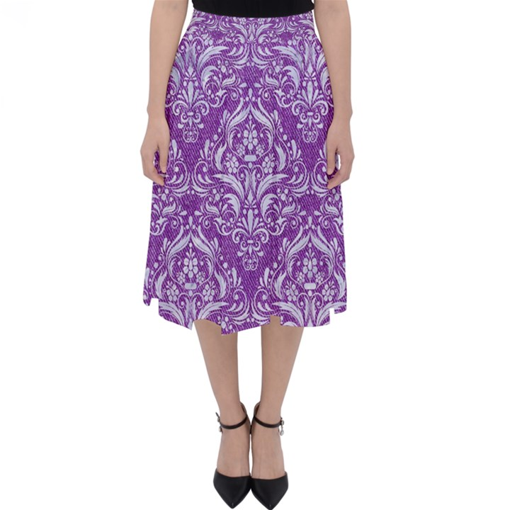 DAMASK1 WHITE MARBLE & PURPLE DENIM Folding Skater Skirt