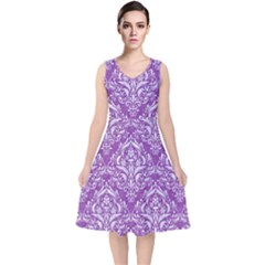 Damask1 White Marble & Purple Denim V Neck Midi Sleeveless Dress
