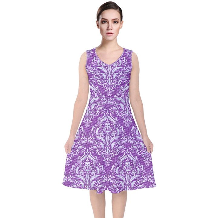 DAMASK1 WHITE MARBLE & PURPLE DENIM V-Neck Midi Sleeveless Dress