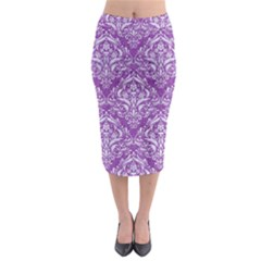 Damask1 White Marble & Purple Denim Midi Pencil Skirt