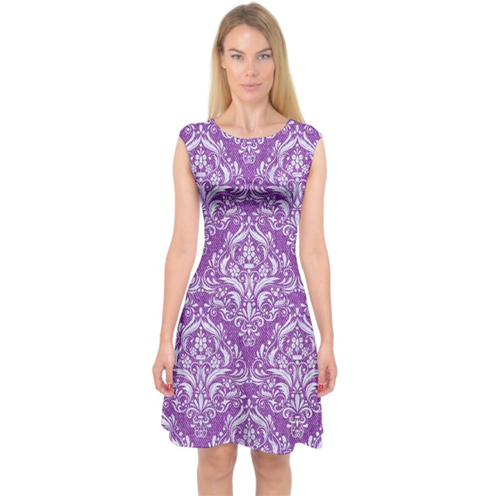 DAMASK1 WHITE MARBLE & PURPLE DENIM Capsleeve Midi Dress