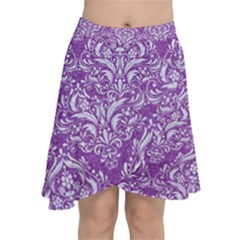Damask1 White Marble & Purple Denim Chiffon Wrap