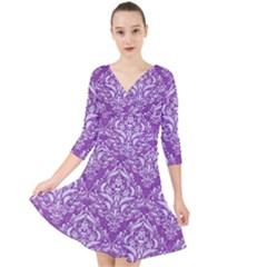 Damask1 White Marble & Purple Denim Quarter Sleeve Front Wrap Dress by trendistuff