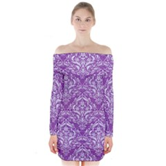 Damask1 White Marble & Purple Denim Long Sleeve Off Shoulder Dress by trendistuff
