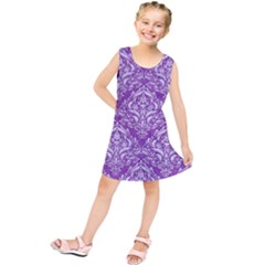 Damask1 White Marble & Purple Denim Kids  Tunic Dress by trendistuff