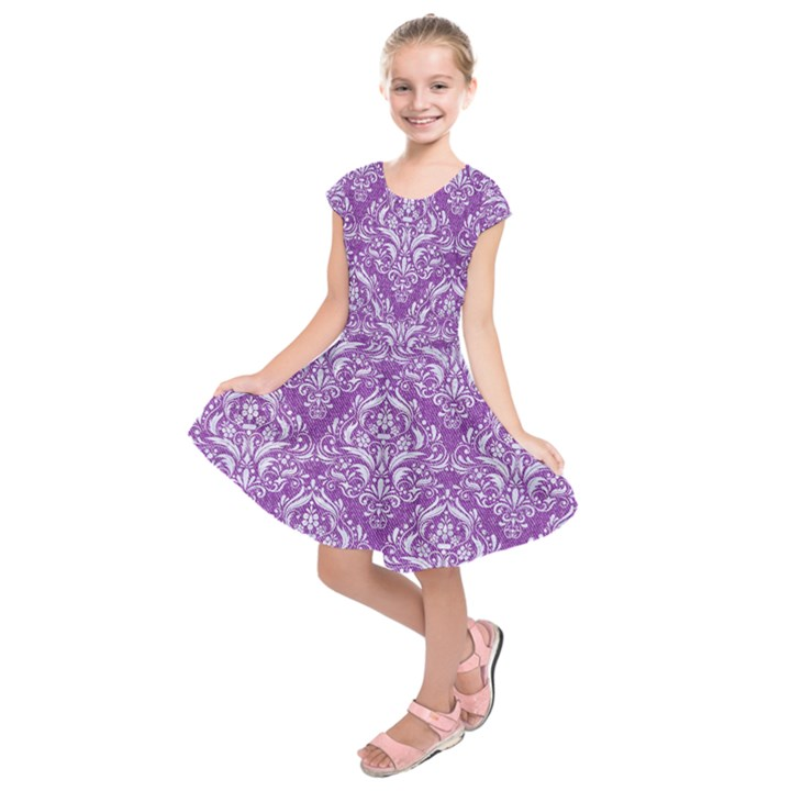 DAMASK1 WHITE MARBLE & PURPLE DENIM Kids  Short Sleeve Dress