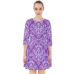 Damask1 White Marble & Purple Denim Smock Dress