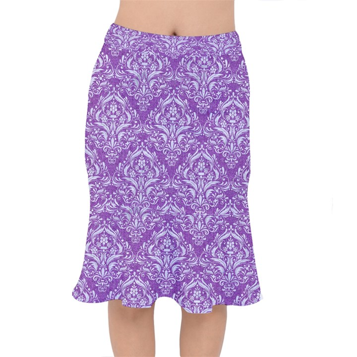 DAMASK1 WHITE MARBLE & PURPLE DENIM Mermaid Skirt