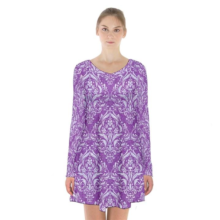DAMASK1 WHITE MARBLE & PURPLE DENIM Long Sleeve Velvet V-neck Dress