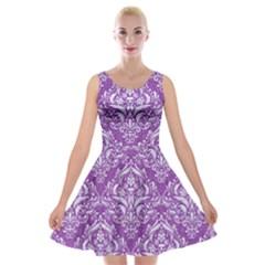 Damask1 White Marble & Purple Denim Velvet Skater Dress