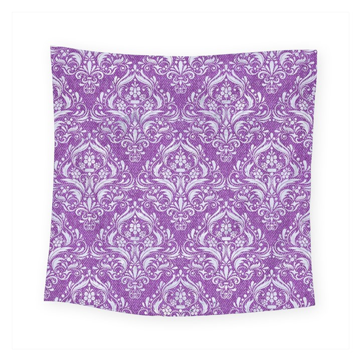 DAMASK1 WHITE MARBLE & PURPLE DENIM Square Tapestry (Small)