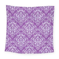 Damask1 White Marble & Purple Denim Square Tapestry (large)