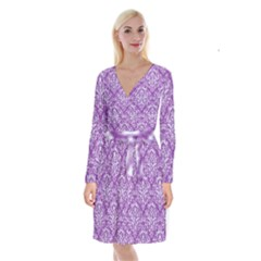 Damask1 White Marble & Purple Denim Long Sleeve Velvet Front Wrap Dress