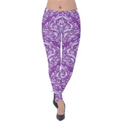 Damask1 White Marble & Purple Denim Velvet Leggings