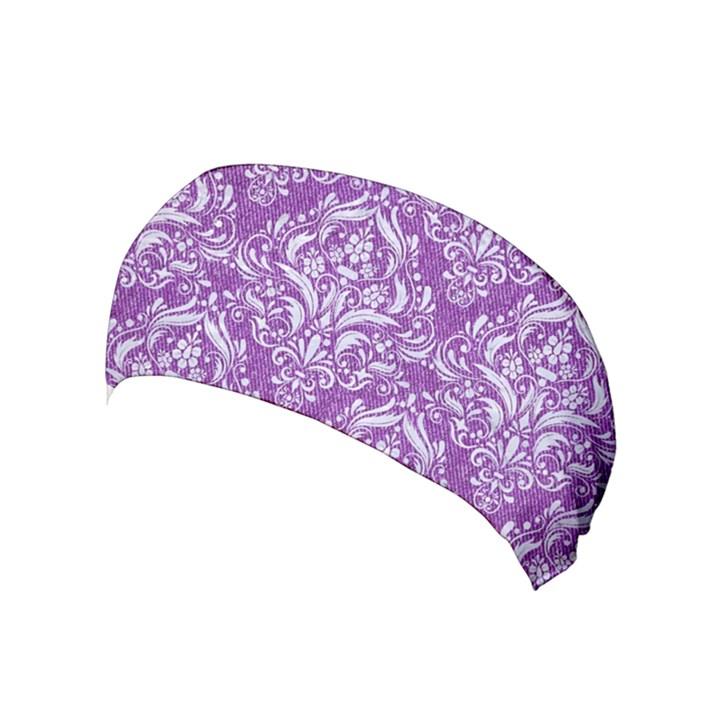 DAMASK1 WHITE MARBLE & PURPLE DENIM Yoga Headband