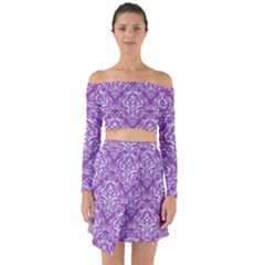 Damask1 White Marble & Purple Denim Off Shoulder Top With Skirt Set