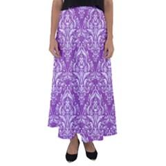 Damask1 White Marble & Purple Denim Flared Maxi Skirt