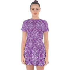 Damask1 White Marble & Purple Denim Drop Hem Mini Chiffon Dress
