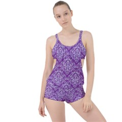 Damask1 White Marble & Purple Denim Boyleg Tankini Set