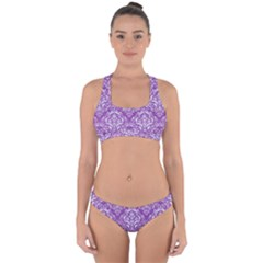 Damask1 White Marble & Purple Denim Cross Back Hipster Bikini Set by trendistuff