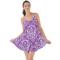 Damask1 White Marble & Purple Denim Love The Sun Cover Up