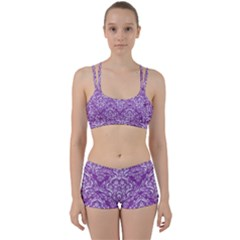 Damask1 White Marble & Purple Denim Women s Sports Set by trendistuff