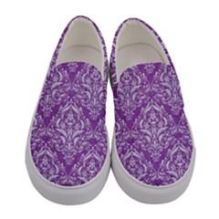 Damask1 White Marble & Purple Denim Women s Canvas Slip Ons