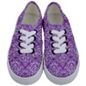 DAMASK1 WHITE MARBLE & PURPLE DENIM Kids  Classic Low Top Sneakers View1