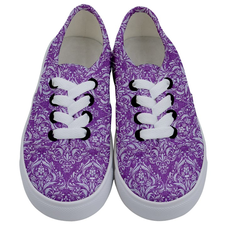 DAMASK1 WHITE MARBLE & PURPLE DENIM Kids  Classic Low Top Sneakers