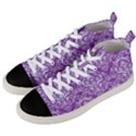 DAMASK1 WHITE MARBLE & PURPLE DENIM Men s Mid-Top Canvas Sneakers View2