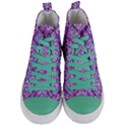 DAMASK1 WHITE MARBLE & PURPLE DENIM Women s Mid-Top Canvas Sneakers View1