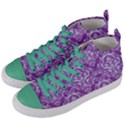 DAMASK1 WHITE MARBLE & PURPLE DENIM Women s Mid-Top Canvas Sneakers View2