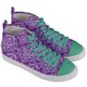 DAMASK1 WHITE MARBLE & PURPLE DENIM Women s Mid-Top Canvas Sneakers View3