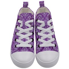 Damask1 White Marble & Purple Denim Kid s Mid Top Canvas Sneakers