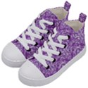 DAMASK1 WHITE MARBLE & PURPLE DENIM Kid s Mid-Top Canvas Sneakers View2