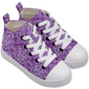 DAMASK1 WHITE MARBLE & PURPLE DENIM Kid s Mid-Top Canvas Sneakers View3