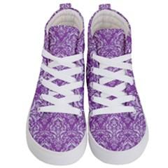 Damask1 White Marble & Purple Denim Kid s Hi Top Skate Sneakers