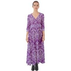 Damask1 White Marble & Purple Denim Button Up Boho Maxi Dress
