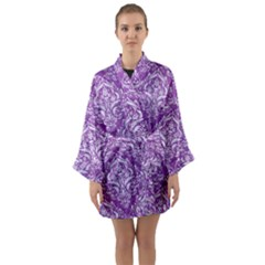 Damask1 White Marble & Purple Denim Long Sleeve Kimono Robe by trendistuff