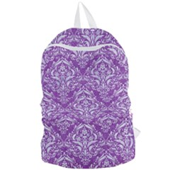 Damask1 White Marble & Purple Denim Foldable Lightweight Backpack