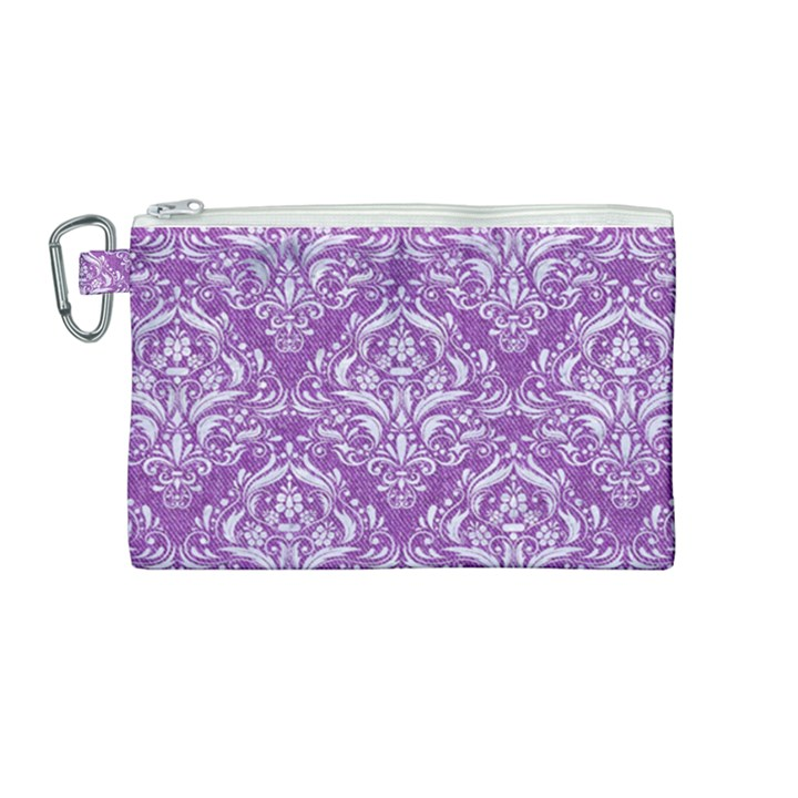 DAMASK1 WHITE MARBLE & PURPLE DENIM Canvas Cosmetic Bag (Medium)