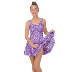 Damask1 White Marble & Purple Denim Inside Out Dress