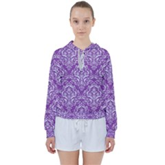 Damask1 White Marble & Purple Denim Women s Tie Up Sweat by trendistuff
