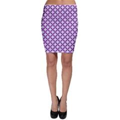 Circles3 White Marble & Purple Denim (r) Bodycon Skirt