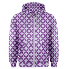 Circles3 White Marble & Purple Denim (r) Men s Zipper Hoodie